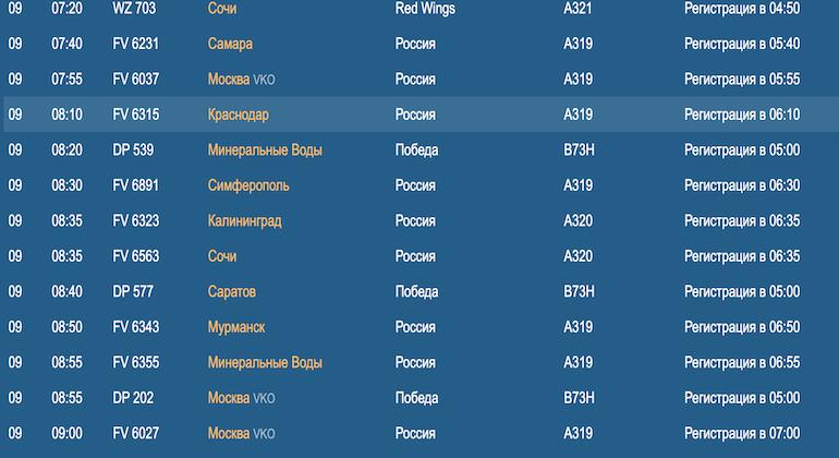 В Пулково в понедельник не отменили рейсы