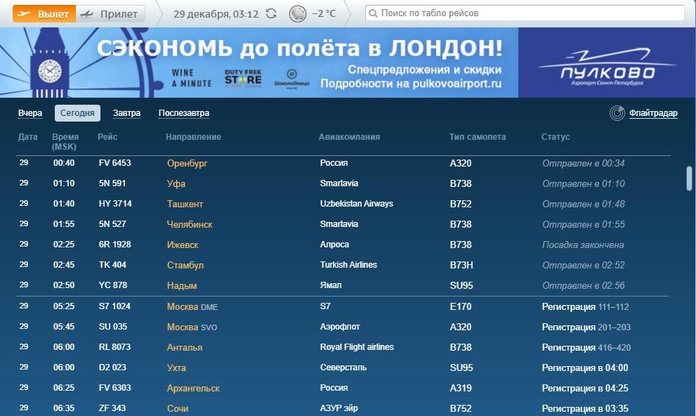 Во вторник в аэропорте Пулково нет задержанных рейсов