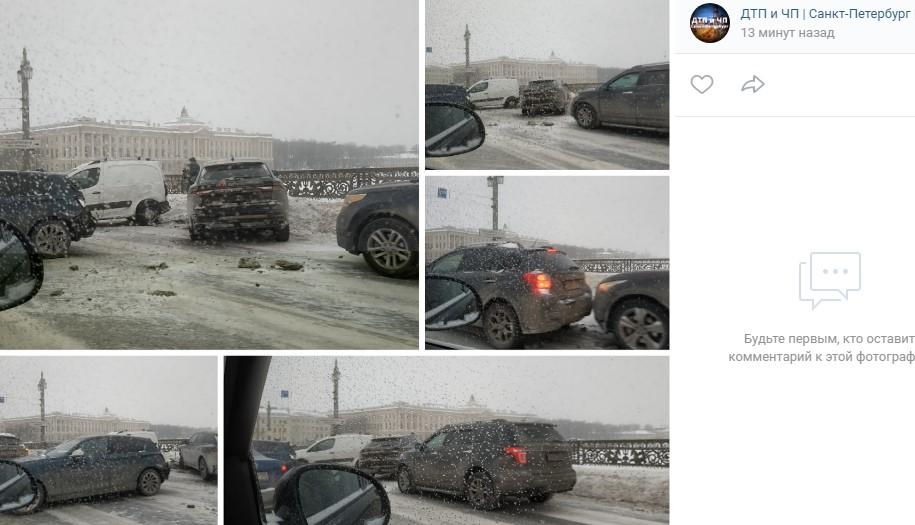 Массовое ДТП на Благовещенском мосту образовало пробку