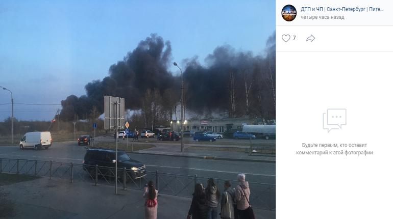В Пушкине загорелась свалка покрышек