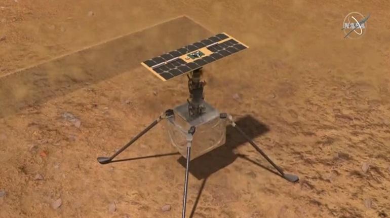 Беспилотный вертолет-дрон NASA совершил первый успешный полет над Марсом