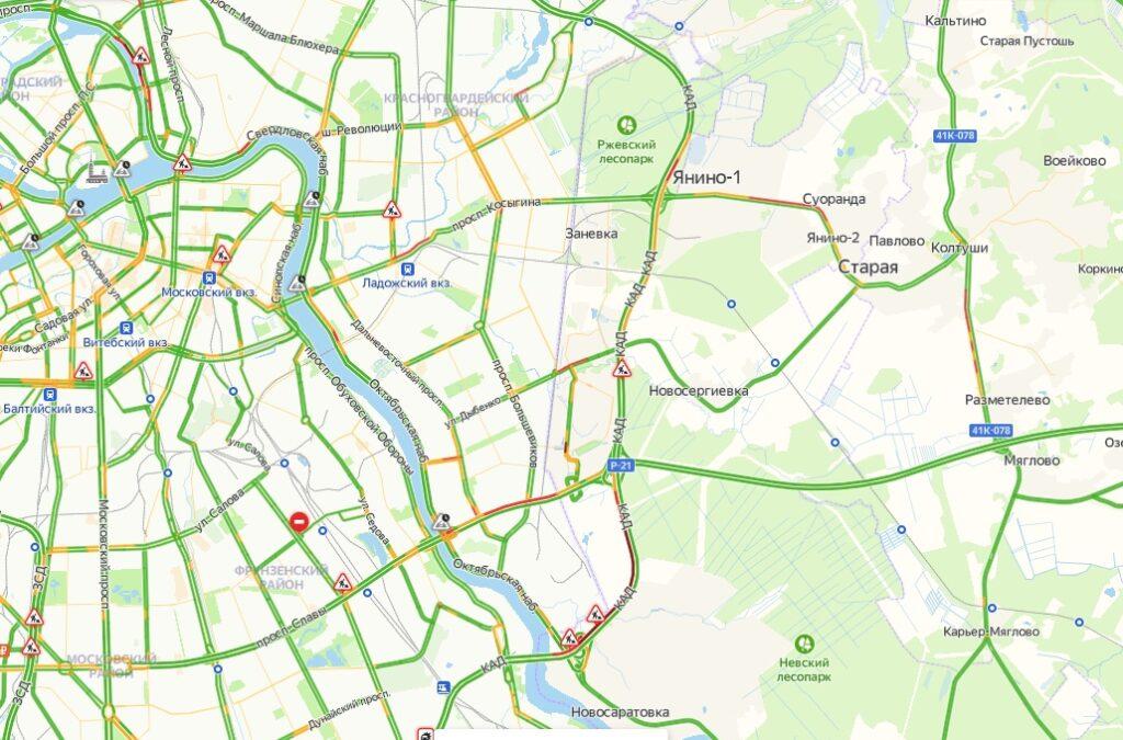 В Петербурге утром 11 мая уровень загруженности на дорогах составит 3 балла