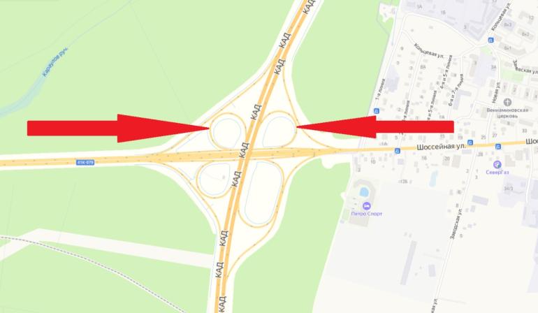 Два съезда закроют на развязке КАД с Колтушским шоссе