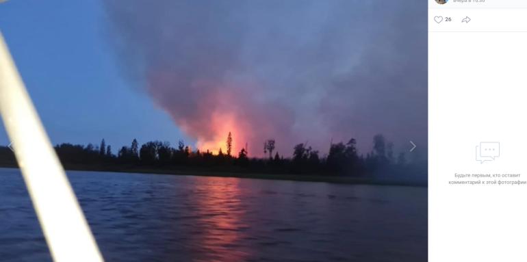 Крупный лесной пожар произошел на острове под Приозерском