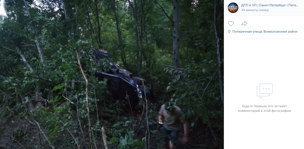 Лихач повалил себя и деревья у станции «Осельки» в Ленобласти