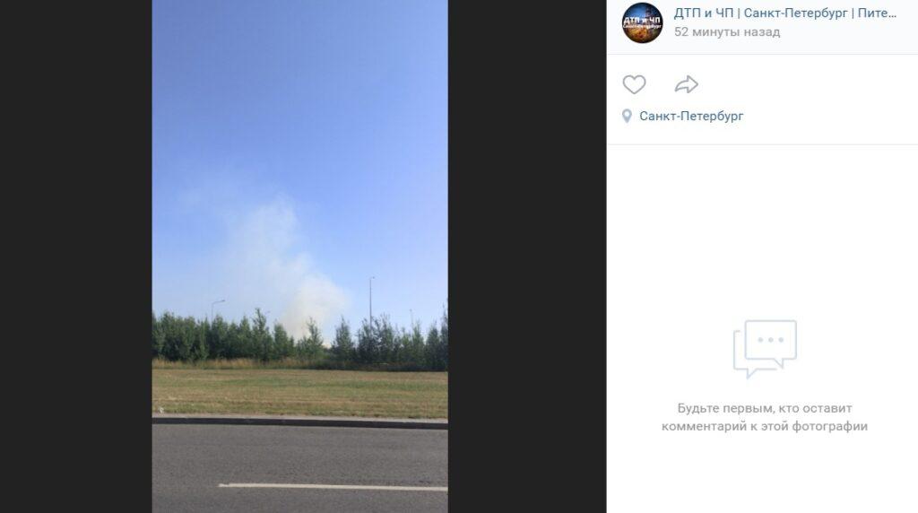 Петербуржцы сообщают о возгорании у аэропорта «Пулково», могут гореть деревья