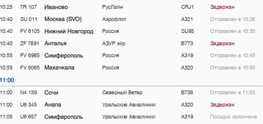 В четверг из Пулково с задержкой вылетят пять авиарейсов