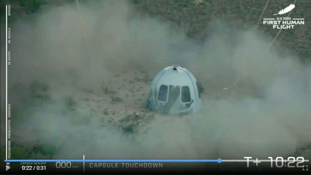 Капсула с Безосом и экипажем успешно вернулась из космоса