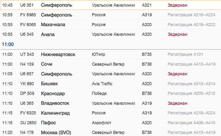 В субботу шесть самолетов «Уральских авиалиний» задерживаются в Пулково: во Владивосток, в Читу и на юг России