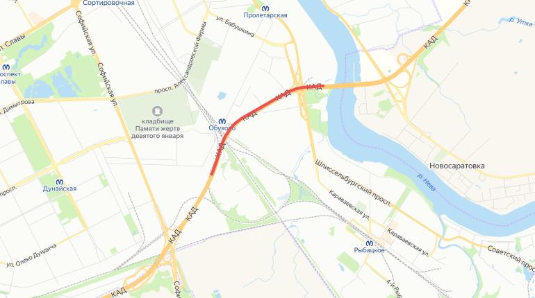 На участке КАД от вантового моста до Софийской перекроют две полосы