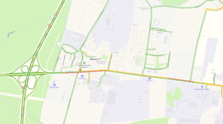 ДТП на выезде из Янино собрало большую пробку на Колтушском шоссе