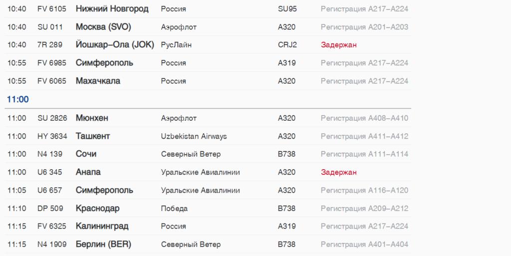 В воскресенье петербуржцы не могут улететь из Пулково в Турцию, в Йошкар-Олу и на юг России
