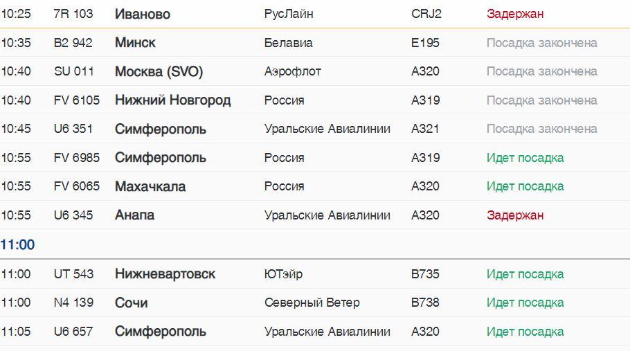 В Пулково в субботу задерживаются самолеты в Симферополь, Анапу, Архангельск и Иваново
