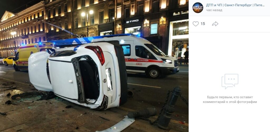 На Невском «БМВ» протаранила пешеходов, одна из них с раздробленным бедром госпитализирована