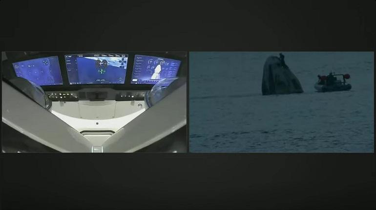 Космический корабль Crew Dragon c гражданским экипажем приводнился у берегов Флориды