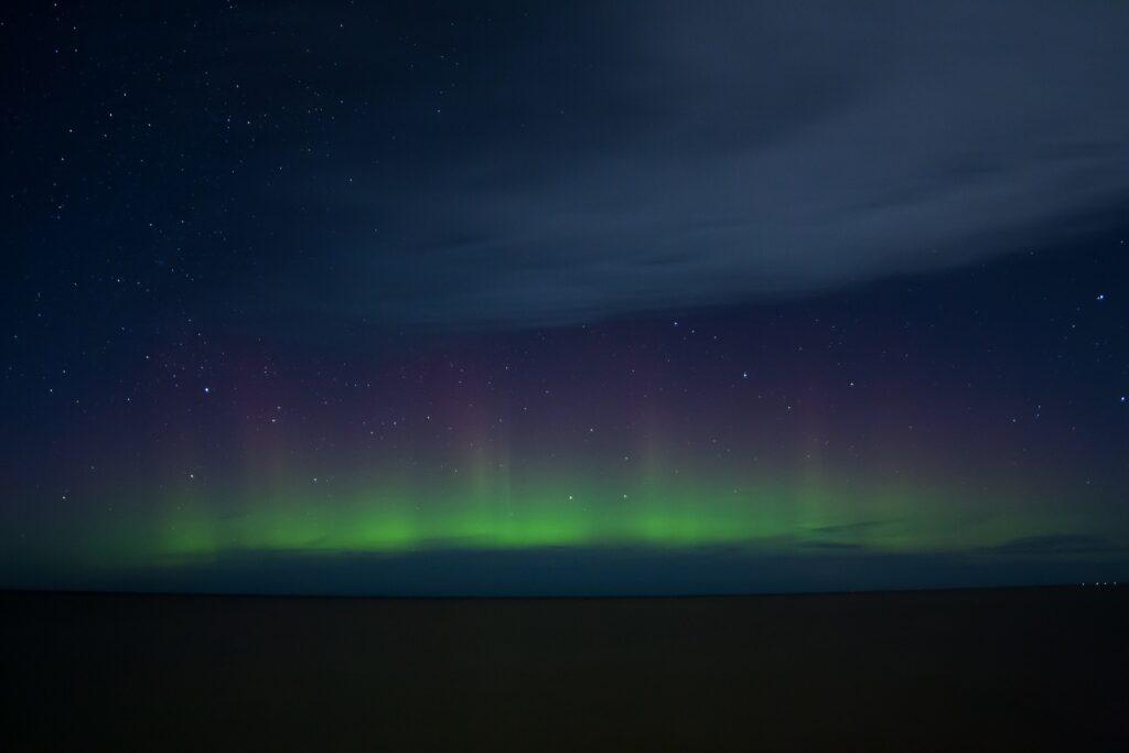 В небе над Ленинградской областью заметили изумрудное северное сияние