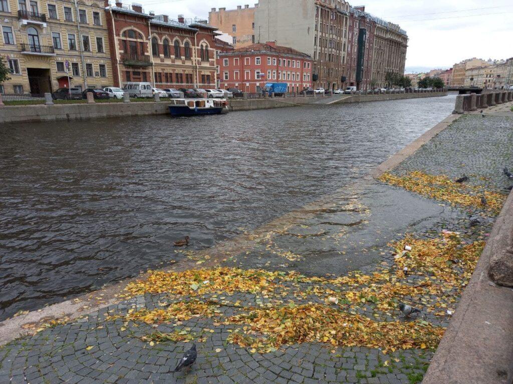 Во время ливней и ветров в канале Грибоедова потонул теплоход