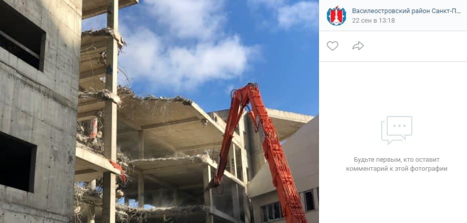 На улице Беринга сносят старый недострой и планируют построить жилой дом