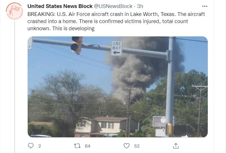 В Техасе военный самолет во время крушения повредил два жилых дома