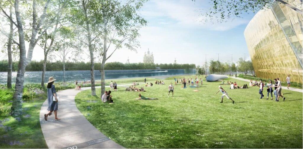 Зимний сад, смотровая площадка и историческая тропа: стали известны подробности  общественного пространства на Охтинском мысе